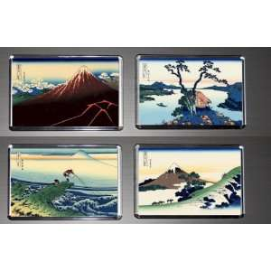 Gift Boxed Set of 4 Fridge Magnets Hokusai 36 Views of