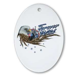 Ornament (Oval) Forever Wild Eagle Motorcycle and US Flag