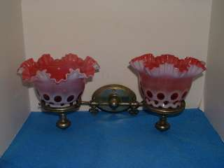 FENTON DOUBLE CRANBERRY COIN DOT SHADES WALL LAMP