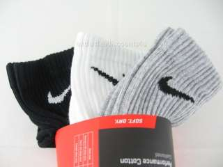 NIKE CREW SOCKS MENS 3 PAIRS SIZE 8 12 White Black Gray