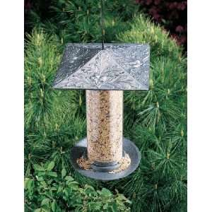 Pewter Silver 12 in. Oakleaf Tube Bird Feeder Patio, Lawn