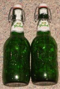 GROLSCH BEER BOTTLES (2) GREEN BEER BOTTLES W/ STOPPER