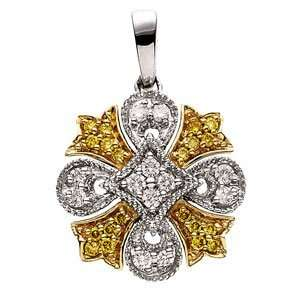 65703 14Ky Gold 1/4 Ct Tw Two Tone Diamond Pendant