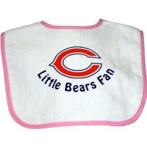 Chicago Bears Little Bears Fan Baby Bib   White with Pink Trim Baby