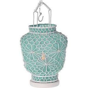 Ice Blue Hanging Wire and Linen Candle Lantern