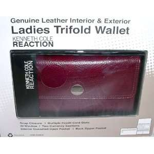 Kenneth Cole Reaction Ladies Trifold Wallet Leather Plum