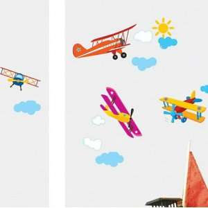 House Airplane Flying removable Vinyl Mural Art Wall Sticker Decal