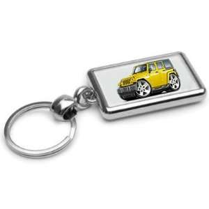 Jeep Wrangler 4 Door 4x4 Chrome Double Sided Key Ring