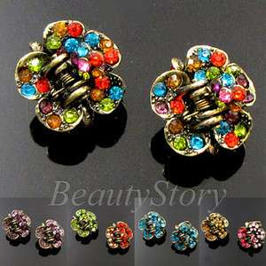 2p antiqued rhinestone crystal hair claw clip