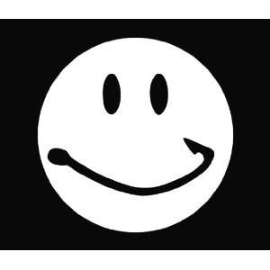 Smiley Face Fish Hook Vinyl Die Cut Decal Sticker 5 White