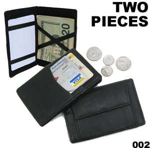TWO LEATHER POCKET MAGIC WALLET Ticket Safely Holder