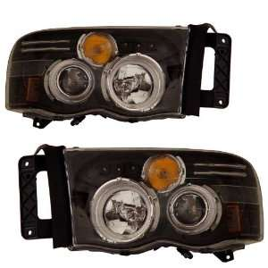 2005 Dodge Ram KS Black CCFL Halo Projector Headlights Automotive