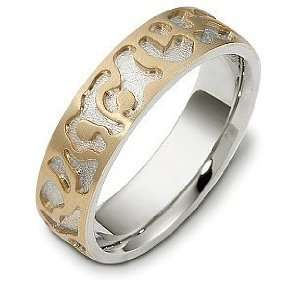 Multi Texture 14 Karat Two Tone Gold Unique Wedding Band Ring   12.5