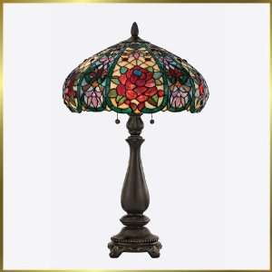 Tiffany Table Lamp, QZTF123TVA, 2 lights, Antique Bronze, 17 wide X