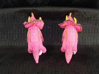 Pair of Vintage Applause Triceratop Pink Dinosaurs Dino