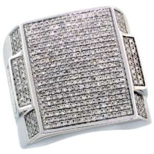 14k White Gold Rectangular Mens Diamond Ring, w/ 1.42