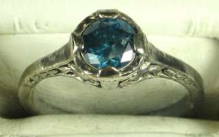 Art Deco Sterling Silver .50ct Genuine Blue Diamond Filigree Ring Size