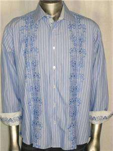 VISCONTI UOMO MENS XL STRIPES CASUAL DRESS L/S SHIRT X LARGE