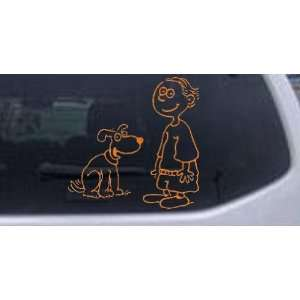 Orange 20in X 20.0in    Child With Dog Stick Family Car Window Wall