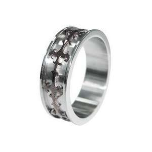 Gothic Cross Two Tone Stainless Steel Band Ring size 11