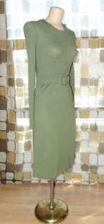 VTG 60s 40s MOD Olive Green Army Military Wool Knit Sweater Dress SEXY