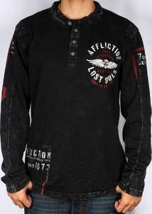 AFFLICTION MENS BULKHEAD HENLEY LONG SLEEVE SHIRT S M L XL XXL XXXL