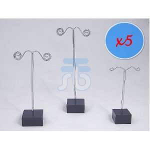 Pack of 15 Jewelry Earring Tree Display Stands (Silver Pole and Black