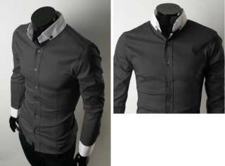 Mens Slim Style Long Sleeve Cotton Casual Dress Shirts Black Grey Blue