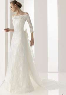 made Lace Wedding dress Bridal Gown With Sleeve Free Size New