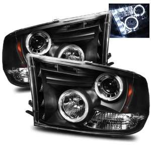 09 10 Dodge Ram 1500 Black LED Halo Projector Headlights Automotive