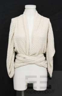 Max Azria Collection Beige Knit Silk & Cashmere Cardigan Size M NEW