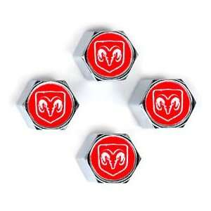 Dodge Ram Red Tire Valve Stem Caps   (Set of 4