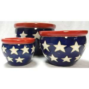 3 PIECE Indoor Red/White/Blue Bell Flower Pots