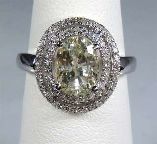 Gold 3.24 tcw Yellow Oval Natural Sapphire & Diamond Ring