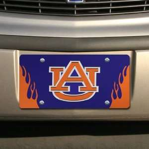 Tigers Royal Blue Mirrored Flame License Plate