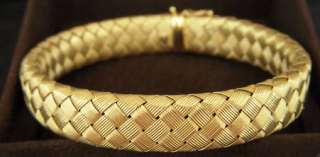 Roberto Coin Matte Basket Weave Gold Earrings Woven Silk Collection
