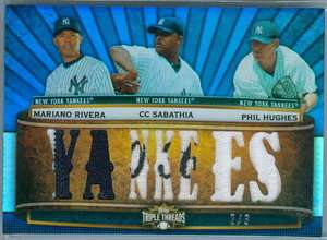 RIVERA/C C SABATHIA/HUGHES 2011 TOPPS TRIPLE THREADS JERSEY RELIC SP/3