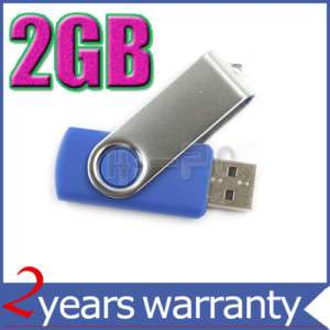 New 2GB USB Flash Memory Stick Drive Swivel design Blue