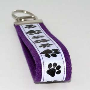 White Black Paw Prints 5   Purple   Keychain Key Fob Ring