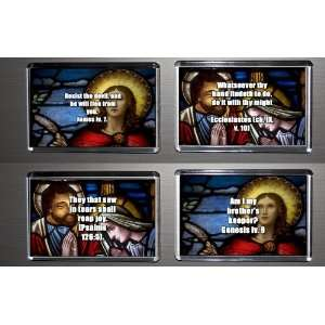 Gift Boxed Set of 4 Fridge Magnets Bible Quotes 3 Kitchen