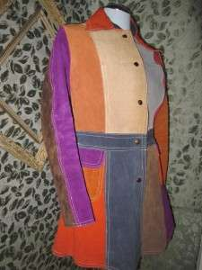 Groovy Color Block Suede Leather Car Coat, Funky Hippie Retro