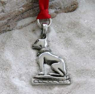 EGYPTIAN BAST CAT Pewter Christmas ORNAMENT Holiday