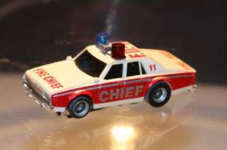Aurora AFX Slot Car, Chevy Pursuit Fire Chief, Red/White #FD 11