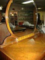 Inlaid Waterfall Hollywood Glam Art Deco Dresser Mirror Vintage