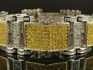 MENS WHITE GOLD FINISH WHITE/CANARY CZ HIPHOP BRACELET