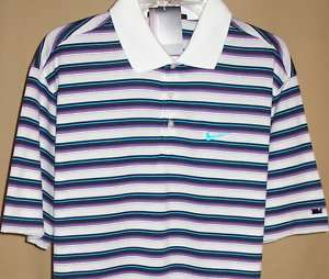 NIKE TIGER WOODS 2011 US Open striped s/s Polo Lg(110)