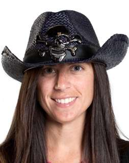 Top off your costume with this rockin black straw cowboy hat bearing