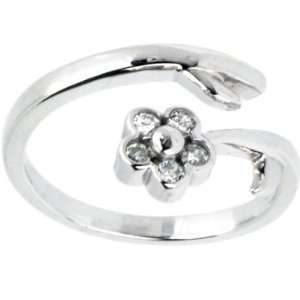 14K White Gold Gem Flower Cubic Zirconia Adjustable Toe Ring Jewelry