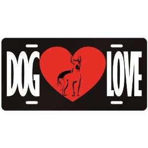 Love American Hairless Terrier  License Plate Dog
