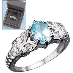 Sterling Silver Geniune Blue Topaz Ring in Gift Box Size 6 Beauty